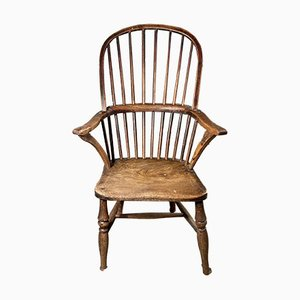 Antique Early Georgian Rustic Stick-Back Windsor Chair in Elm, 1760s