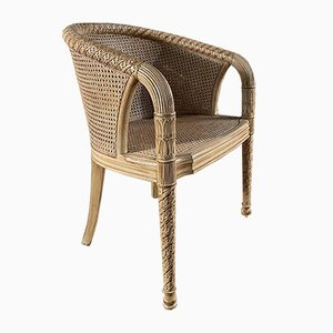 Vintage French Cane Elbow Tub Chair