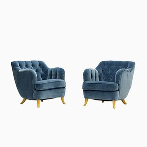Aquamarine Velvet Lounge Chairs by Elias Svedberg for NK, 1940s, Set of 2