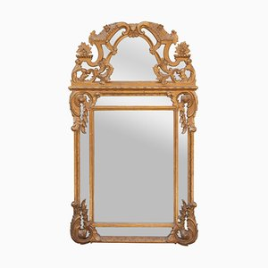 Neoclassical Rectangular Hand Carved Wood & Gold Foil Mirror, 1970