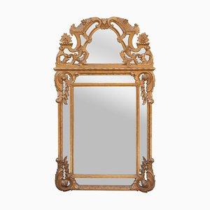Neoklassizistischer rechteckiger handgeschnitzter Spiegel aus Holz & Goldfolie, 1970