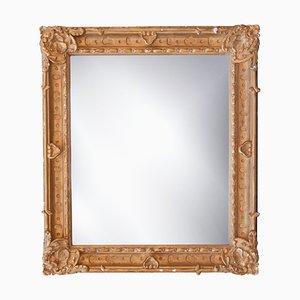 Neoklassizistischer rechteckiger Spiegel aus handgeschnitztem Holz & Gold, Spanien, 1970er