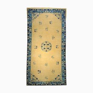 Chinesischer Peking Teppich aus Wolle & Blau, 19. Jh., 1870er