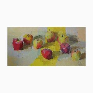 Pintura al óleo naturaleza muerta de Jill Barthorpe, Apples with Yellow Stripe, 2020