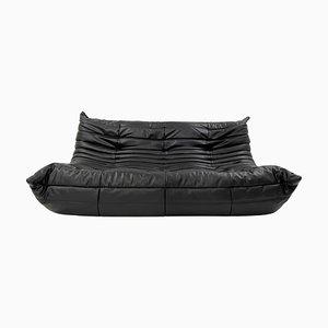 Black Vegan Leather Togo Sofa by Michel Ducaroy for Ligne Roset, 1970s
