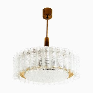 Murano Brass and Ice Glass Tubes Chandelier from Doria, 1970s