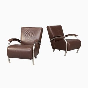 Leather Accademia Lounge Chairs for Molinari, 1980s, Set of 2