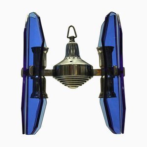 Small Blue Glass Pendant Lamp from Veca, 1960s