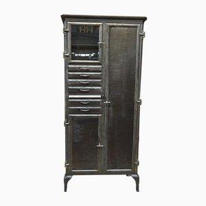 Kupfer & Glas Zahnarzt Schrank mit 3 Türen, 6 Schubladen und 1 Schieberegal aus Marmor, 1900er