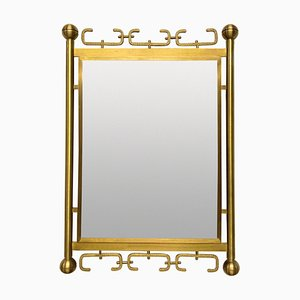 Italienischer Mid-Century Spiegel aus gebürstetem Messing