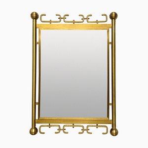 Mid-Century Italian Mirror in Brushed Brass