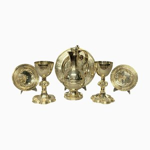 English Gothic Silver Communion Set, Set of 7