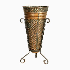 Hand-Embossed Umbrella Stand in Burnished Brass and Wrought Iron, 1940s