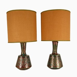 French Art Deco Geometric Table Lamps in Enamel on Copper by Camille Faure, 18th Century, Set of 2