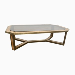Brass and Wood Coffee Table