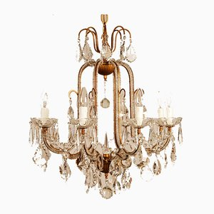 Italian Rococo Style Macaroni Beaded Chandelier in Murano Glass with Gold Frame from Banci Firenze, Italy, 1970s