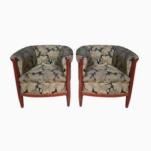 Art Deco Mahogany Armchairs, Set of 2