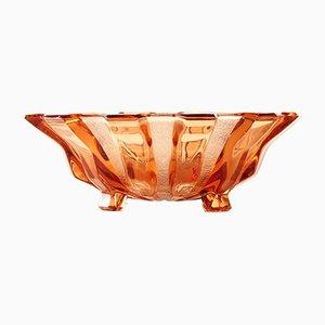 Pinke Glasschale von Hermanova Hut, Tschechoslowakei, 1950er