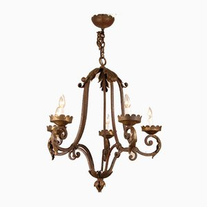 French Art Deco Wrought Iron Chandelier by Gilbert Poillerat