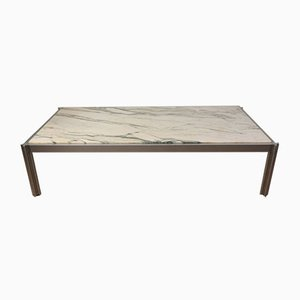 Coffee Table by Georges Ciancimino in Marble and Aluminum, 1970s