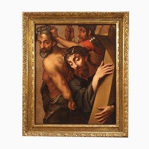 Antikes italienisches Gemälde, Kreuztragung, 17. Jh
