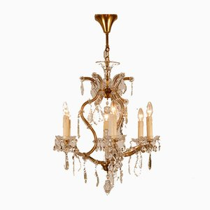 French Hollywood Regency Crystal Maria Theresa Chandelier from Maison Charles, 1940s