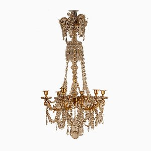 French Napoleonic Beaded 6 Light Candle Chandelier in Mercury Bronze & Baccarat Crystal