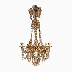 Lampadario Napoleonico a 6 luci in bronzo mercurizzato e cristallo Baccarat