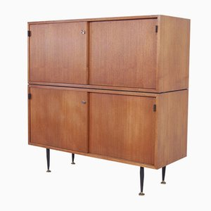 Mid-Century Hall Cabinet in Wood with Iron Legs