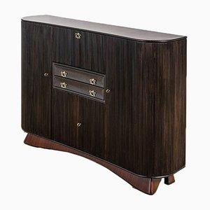 Large Cabinet in Wood with Brass Handles by Osvaldo Borsani for Atelier Borsani Varedo, 1940s