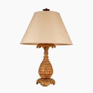 Hollywood Regency Ananas Tischlampe aus vergoldetem Holz von Maison Jansen, 1940er
