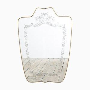 Geformter Spiegel mit Messingrahmen und Siebdruck Dekoration von Giovanni Gariboldi, 1940er