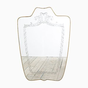 Shaped Mirror with Brass Frame and Screen-Printed Decoration by Giovanni Gariboldi, 1940s
