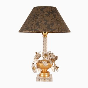 Italian Hollywood Regency Table Lamp in Gilt Brass with Clear Crystal Flowers from Banci Firenze, 1970s