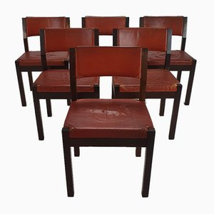 Cognac Leather & Wenge Dining Chairs from 't Spectrum, 1960s, Set of 6