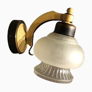 Russian Mid-Century Modern Gold and Frosted Glass Plug-in Wall Lamp, 1960s