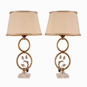 Italian Hollywood Regency Table Lamps in Gilt Metal and Crystal from Banci Firenze, 1970s, Set of 2