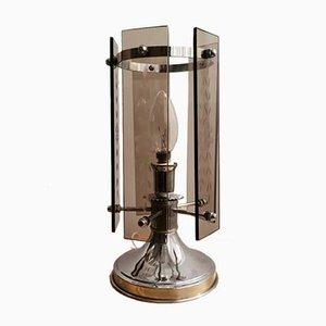 Französische Tischlampe aus Rauchglas & Aluminium im Art Deco Stil, 1970er