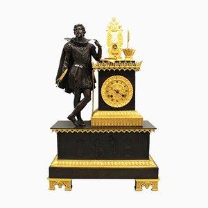 Antike gotische Pendeluhr aus vergoldeter Bronze