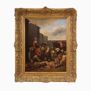 Flämisches Gemälde Populäre Szene mit Figuren, 18. Jh