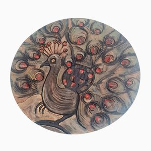 Decorative Wall Plate with Peacock from Ruscha, 1960s
