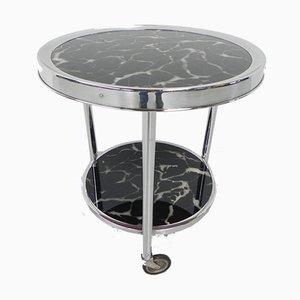 Bauhaus Couchtisch mit 2 Glasplatten und Rollen