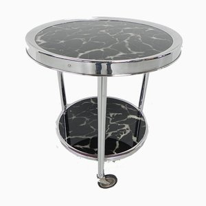 Bauhaus Style Coffee Table with 2 Glass Tops and Castors