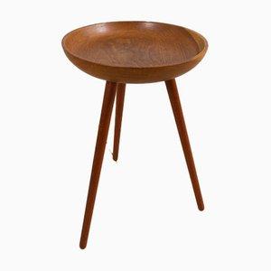 Vintage Danish Bowl-Shaped Oak and Teak Tripod Table, 1960s