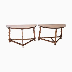 Antique Walnut Combinable Console Tables, 1680s, Set of 2