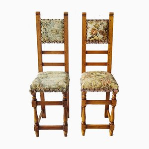Antike Stühle mit Gobelin Stoff, 2er Set