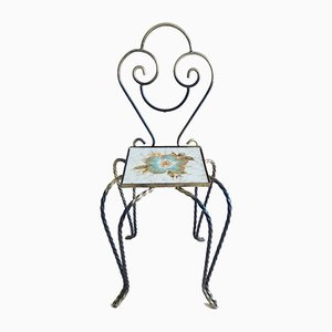 Small Flower Stool in Forged Iron and Ceramic Tile, 1960s