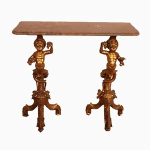 Venezianische Konsole aus vergoldetem Holz und Marmor, 18. Jh