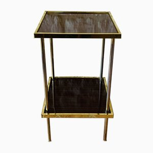 Vintage Formica and Brass Side Table with 2 Shelves, 1970s