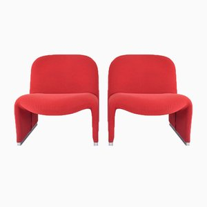Set of 2 Red Wool Alky Club Chairs by Giancarlo Piretti to Castelli Italy 1970s from Castelli / Anonima Castelli